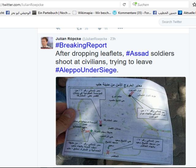 Aleppo Flugblätter Röpcke hetzer und Lügner